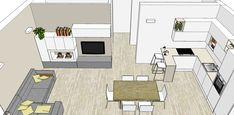 Progetto Living con cucina e tanti desideri – Mayday Casa Blog e Progetti Small Apartment Layout, Small Appartment, Small Apartment Decorating, Open Kitchen And Living Room, Living Room Partition, Cute Room Decor, House Plans, New Homes, Floor Plans