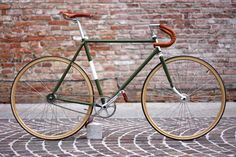 "» Fixed gear bike Vintage ""Olive"""