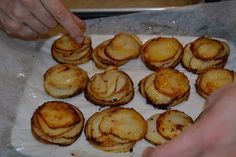 Mandoline cut russets were stacked in a greased cupcake tin and with a little s & p and cream, made a delightful starch.