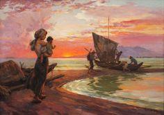 Fernando Amorsolo - Departure of the Fishermen 1958 Philippine Mythology, Philippine Art, Filipino Art, Filipino Culture, Philippines Tattoo, Philippines Culture, Filipiniana, Sense Of Place, Ocean Waves
