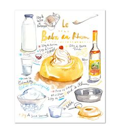 French cake recipe poster Baba au rhum Kitchen art Food artwork Illustrated recipe