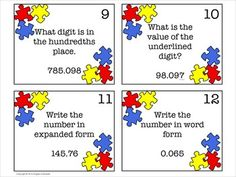 Decimal place value task cards...aligned to Common Core for 5th grade!  Awesome for games, centers, small groups!