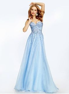 A-Line/Princess Strapless Sweetheart Floor-Length Chiffon Prom Dress With Beading