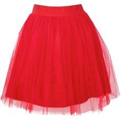 Boohoo Alicia Tulle Skirt   Boohoo ($10) ❤ liked on Polyvore featuring skirts, pleated mini skirt, pleated maxi skirt, red midi skirt, maxi skirt and red tulle skirt