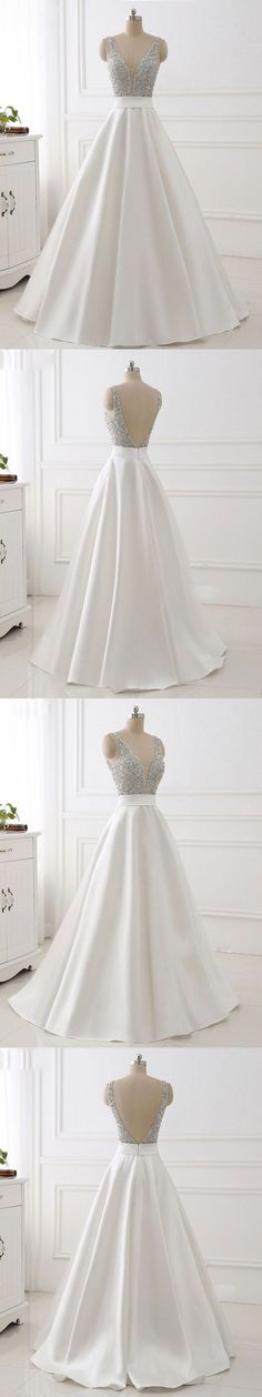 Charming White Prom Dress,Deep V-Neck Sexy Long Party Dress,Sexy V-Back Evening Gown,Cheap Dress