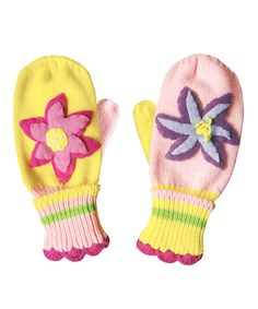 Yellow & Pink Lotus Mittens | Daily deals for moms, babies and kids