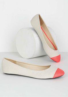coral toe flats