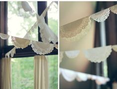 that vintage event you've been planning, try this DIY doily bunting banner via Wit & Whistle Diy Doily Bunting, Bunting Banner, Doily Garland, Vintage Party, Vintage Tea, Vintage Banner, Vintage Decor, Tea Party Decorations, Wedding Reception Decorations