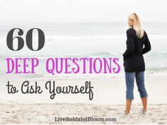 60 Questions To Ask Yourself (The last list of questions you'll need) Read this list of 60 deep questions to ask yourself. Reflecting upon the deep questions will lead your toward action. Deep Questions To Ask, List Of Questions, This Or That Questions, Partner Questions, Twenty Questions, Dating Questions, Interview Questions, Journaling, Self Development