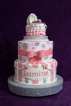 Baby Shower Cake With Bassinet Topper