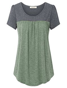 online shopping for Lingfon Women's Short Sleeve Pleated Front Stitching Tunic Shirt Top from top store. See new offer for Lingfon Women's Short Sleeve Pleated Front Stitching Tunic Shirt Top Tunic Shirt, Tunic Tops, Womens Clothing Stores, Clothes For Women, Women's Clothing, Stitch Fix Outfits, Mode Outfits, Trendy Tops, Short Sleeve Dresses