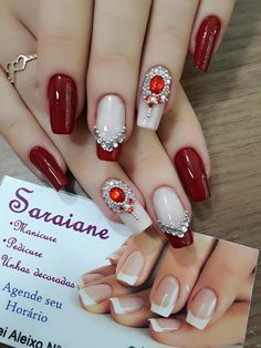 Inspiração das minhas unhas pela manicure Saraiane Red Acrylic Nails, Glitter Nail Art, Red Nails, Square Nail Designs, Beautiful Nail Designs, Nail Art Designs, Love Nails, Pretty Nails, Nail Salon Design