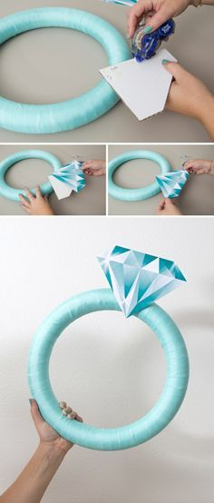 This Giant Diamond Ring Is The Perfect DIY Bridal Shower Door Decor! OMG, how cute is this giant DIY diamond ring wreath! The post This Giant Diamond Ring Is The Perfect DIY Bridal Shower Door Decor! appeared first on Do It Yourself Fashion. Bridal Shower Party, Bridal Shower Decorations, Wedding Decorations, Bachelorette Decorations, Bachelorette Parties, Wedding Showers, Diy Engagement Decorations, Diamond Decorations, Tiffany Bridal Showers
