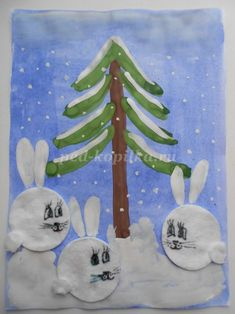 Santa Crafts, Bunny Crafts, Christmas Crafts, Winter Activities For Kids, Holiday Crafts For Kids, Kindergarten Crafts, Preschool Crafts, Creative Christmas Trees, Cool Art Projects