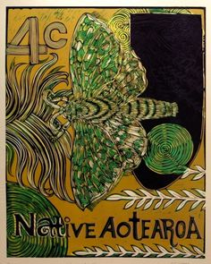 Michel Tuffery Puriri Moth Taranaki Woodcut and Embossing on 760 x 560 mm paper, from an edition of Primary School Art, Casual Art, Nz Art, Maori Art, Kiwiana, Small Art, Artist Painting, Lovers Art, Tattoo Inspiration