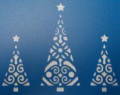 Christmas Trees x 3 Stencil by kraftkutz on Etsy Letter Stencils, Stencil Templates, Stencil Patterns, Stencil Designs, Christmas Stencils, Christmas Templates, Christmas Printables, Diy Cards, Christmas Cards