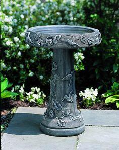 Hummingbird cast stone Birdbath made by Campania International