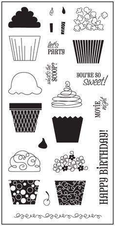"""4""""x8"""" Clear Stamps - Cupcakes & More"""