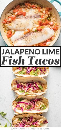 These tasty Jalapeno Lime Fish Tacos are healthy, fresh, and packed with flavor. An easy 30-minute meal to escape the weeknight dinner rut. Fish Recipes, Mexican Food Recipes, Chicken Recipes, Healthy Recipes, Ethnic Recipes, Pescatarian Diet, Pescatarian Recipes, Quick Weeknight Meals, Fish Tacos