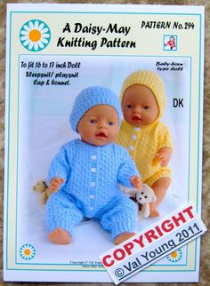 1 Dolls knitting pattern  by Daisy-May for Baby Born No 294 16 to 18 inch FOR SALE • £2.99 • See Photos! Money Back Guarantee. FREE POSTAGE WITH THE UK HERE IS THE NEXT DAISY-MAY DOLL'S KNITTING PATTERN TO FIT A 16 TO 17 INCH TRADITIONAL SHAPED DOLL, WITH A BODY MEASUREMENT OF APPROX. 12 172507795880