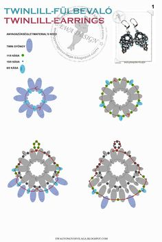 TWINLILL Earrings - Free Pattern by Ewa. Use: Twin beads, seed beads 11/0, 15/0 and 8/0. Page 1 of 2
