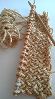 createstuff Day sanded dowels into long knitting needles to knit rope a. : createstuff Day sanded dowels into long knitting needles to knit rope a… – Braided Rag Rugs, Rag Rug Tutorial, Rope Rug, Jumbo Yarn, Creative Textiles, Diy Crochet, Crochet Rugs, Knitting Needles, Knitting Patterns