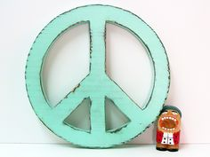 Peace Sign in Mint Pine Wood Sign Wall Decor Rustic Americana Photo Prop
