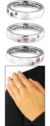 Mothers, Daughters, Sisters, Friends® Steel & Zirconium Ring at The Breast Cancer Site