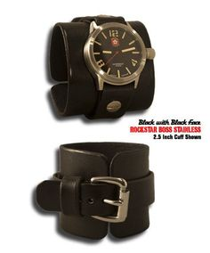 Black Rockstar Boss Leather Cuff Watch with Stainless Steel 10ATM Watch with Sapphire Lens