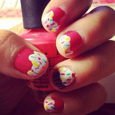 Cupcake Nail Art.  This reminds me of Pinkie Pie from MLP! So cute!