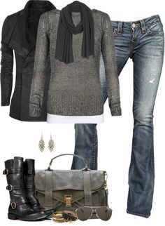 fall outfit. grays and jeans. black boots.
