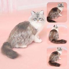 Beautiful Needle felting project wool animals cat (Via @chata528)