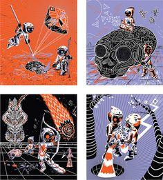 Rainbow Twins in the noosphere silk screen print set by Mrglaubitz, $60.00