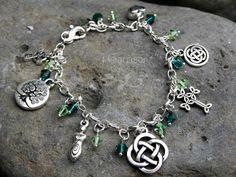 Deluxe Celtic Symbols Silver Charm bracelet by RowanOliviaJewelry, $54.00