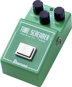 Ibanez TS808: Modeling and boutique pedal makers have copied the smooth and full tone of this pedal countless times. Now you can have Ibanez's faithful reissue at a price that doesn't break the bank. The reissue features the same JRC4558D IC chip and analog circuitry as the original. Controls include overdrive, level, and tone controls.