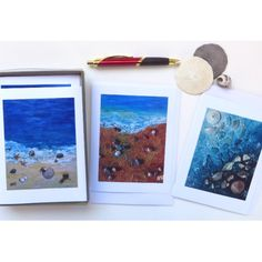 I'm happy with my mixed media art cards! The prints seem so realistic that you want to reach in and touch those shells. Let's go to the beach! :)