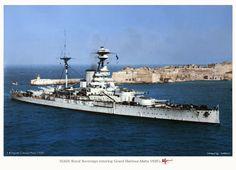 """Royal Navy Revenge-class battleship HMS """"Royal Sovereign"""" entering Malta, 1920's"""