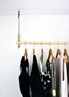 hanging wood clothes rack with wooden bead detail // fort & field Konmari, Home Bedroom, Bedroom Decor, Flat Interior, Hanging Rail, Attic Remodel, Home Renovation, Home Projects, Decoration