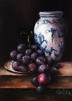 Delft Vase and Grapes Still Life Original Oil by NinaRAideStudio #oil painting#original#still life#delft#vase#grapes
