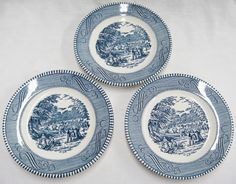 "Currier & Ives Royal China Lot of 3 Bread Plates 6.5"" Harvest Blue Vintage #RoyalChina"