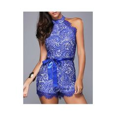 Chic Women's Round Neck Sleeveless Laced Belted Romper ($14) ❤ liked on Polyvore featuring jumpsuits, rompers, blue romper, blue rompers, playsuit romper, sleeveless rompers and sleeveless romper