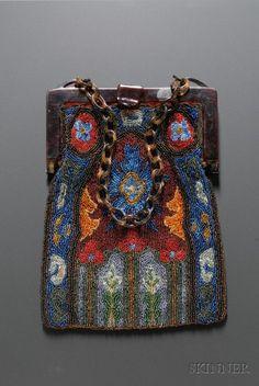 Art Deco Faux Tortoiseshell Framed Floral Beaded Bag | Sale Number 2438, Lot Number 501 | Skinner Auctioneers