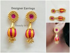 Designer Silk Thread Earrings making at Home Silk Thread Jumkas, Silk Thread Bangles Design, Silk Thread Necklace, Thread Jewellery, Diy Jewellery, Jewellery Making, Quilling Jewelry, Paper Jewelry, Bead Crafts
