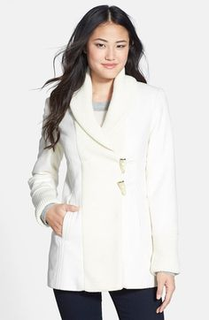 Vince Camuto Knit Trim Wool Blend Coat (Online Only) (Regular & Petite) available at #Nordstrom