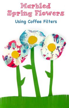 Marbled Coffee Filter Flowers Spring Craft for Kids - My Little Me