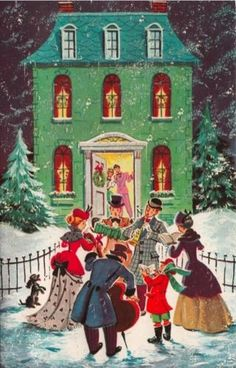 Vintage Greeting Card Christmas UNUSED Whitman Dickens Carolers House (O745)