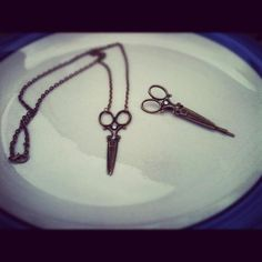 Beautiful Bronze Scissor shears Necklace with by AnnabellandLouise, $14.00
