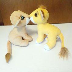 Lion King Kissing Simba & Nala Disney's Plush Toys Vintage 1993 #Disney