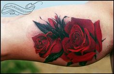 Realistic Open Bloom Red Roses Tattoo