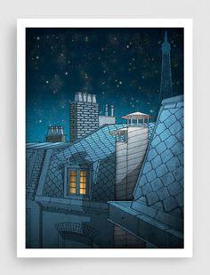 Paris illustration - Dreaming a dream - Fine art illustration - Fine art prints,Art Posters,Paris art,Paris decor,Wall art,wall decor